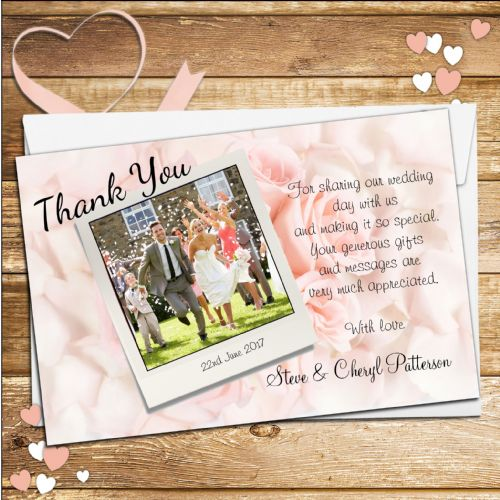 10 Personalised Wedding Pink Roses Thank you Photo cards N148